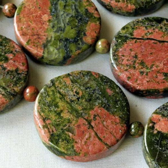Unakite 25mm Coins alternating with 4mm Rounds - 16 inch strand