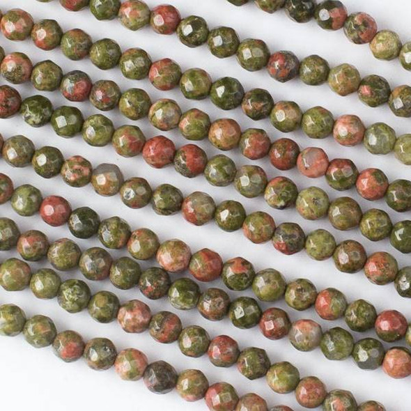 Unakite 4mm Faceted Rounds - 16 inch strand