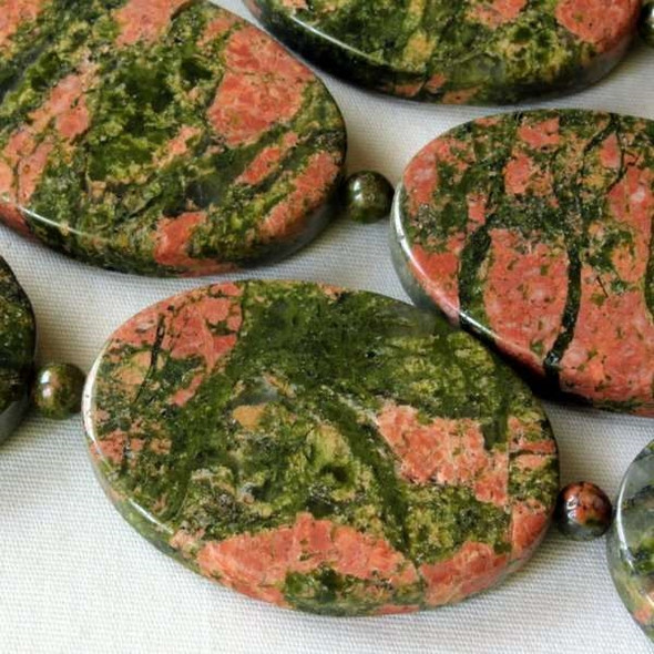 Unakite 25x35mm Oval alternating with 4mm Rounds - 7.5 inch strand
