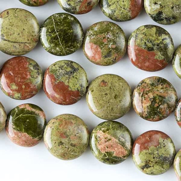 Unakite 10mm Coin Beads - approx. 8 inch strand, Set A