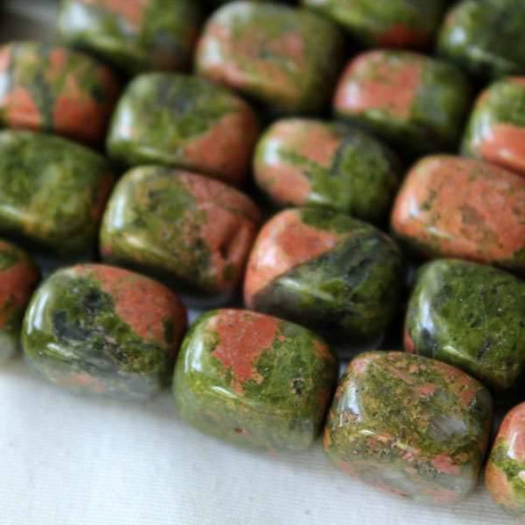 Unakite 10x14mm Nugget Beads - approx. 8 inch strand, Set A