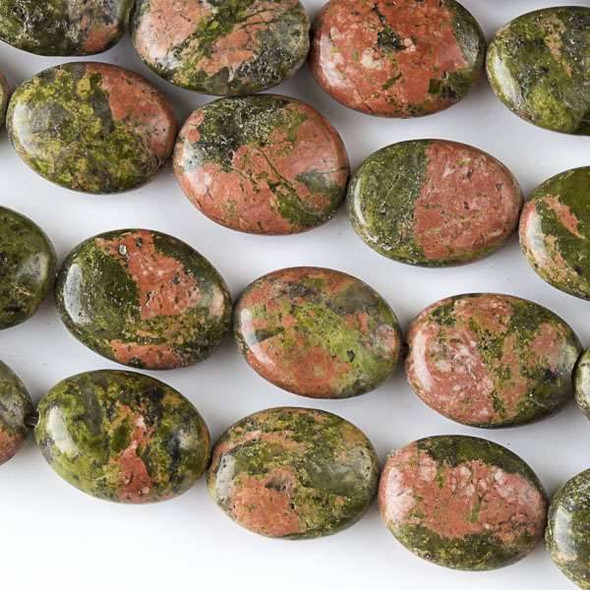 Unakite 10x14mm Oval Beads - approx. 8 inch strand, Set A