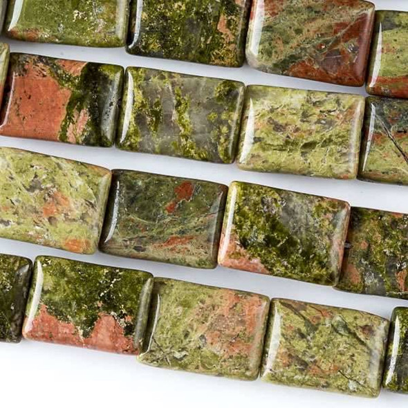 Unakite 10x14mm Rectangle Beads - approx. 8 inch strand, Set A