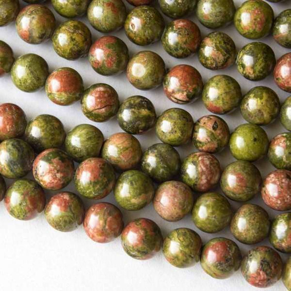 Unakite 8mm Rounds - 16 inch strands