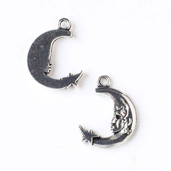 Silver Pewter 16x22mm Moon with Face Charm - 10 per bag