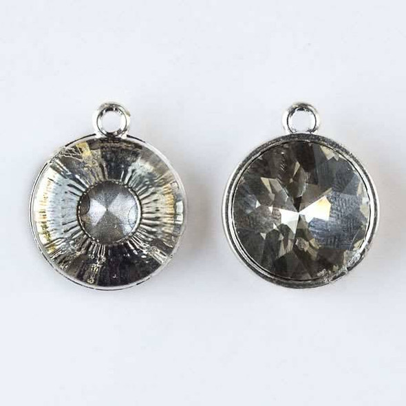 Crystal 16x19mm Clear Faceted Coin Drop with Silver Base Metal Bezel