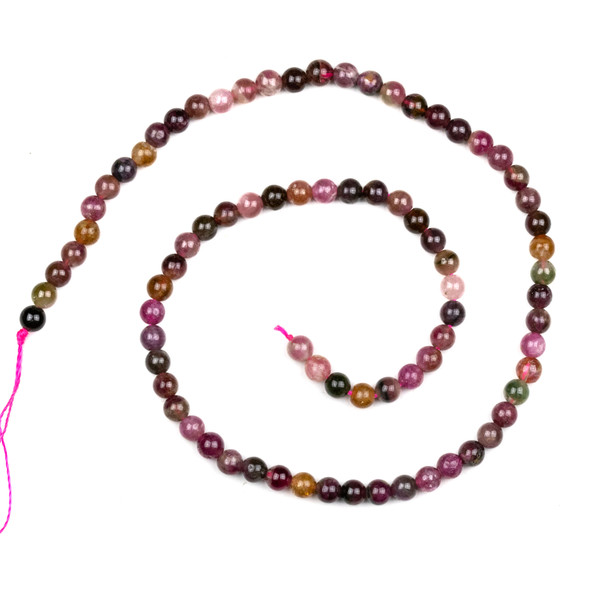 Watermelon Tourmaline 5mm Round Beads - 16 inch strand