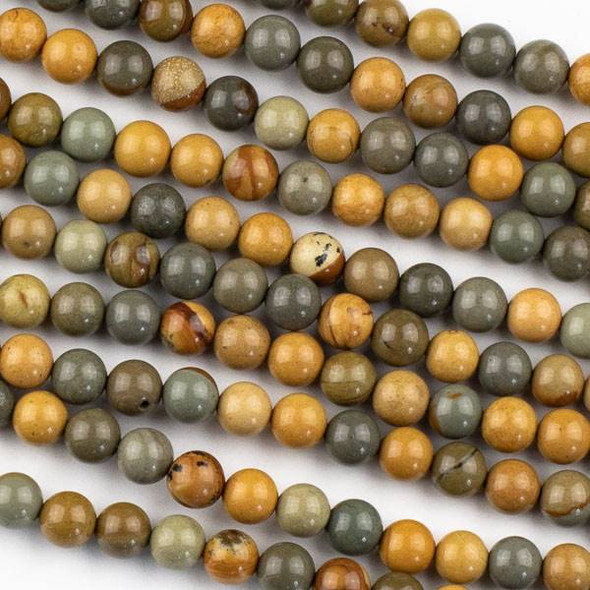 Wild Horse Picture Jasper 6mm Round Beads - 15 inch strands