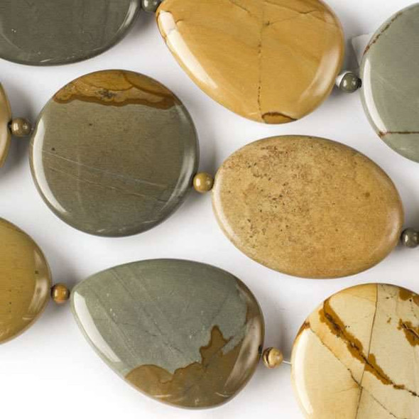 Wild Horse Picture Jasper 30x40mm Teardrops, 30x40mm Oval, and 35mm Coins alternating with 4mm Rounds - approx. 8 inch strand