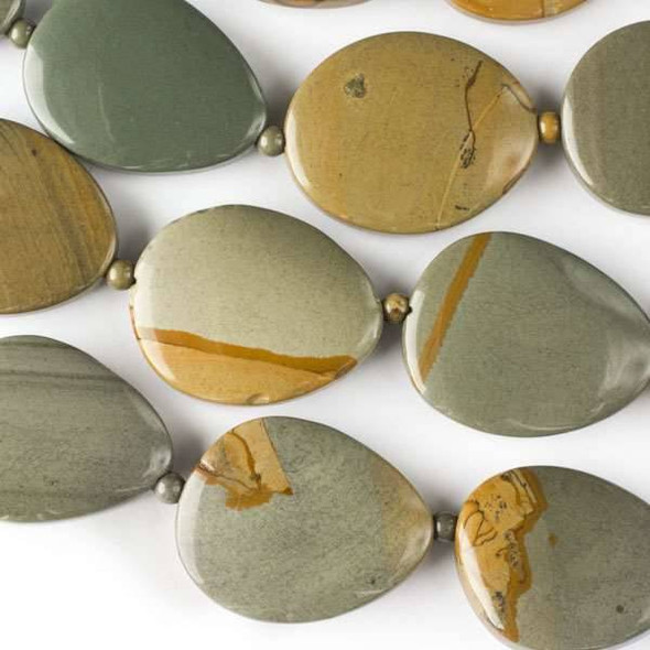 Wild Horse Picture Jasper 23x28-30x35mm Slabs alternating with 4mm Rounds - approx. 8 inch strand