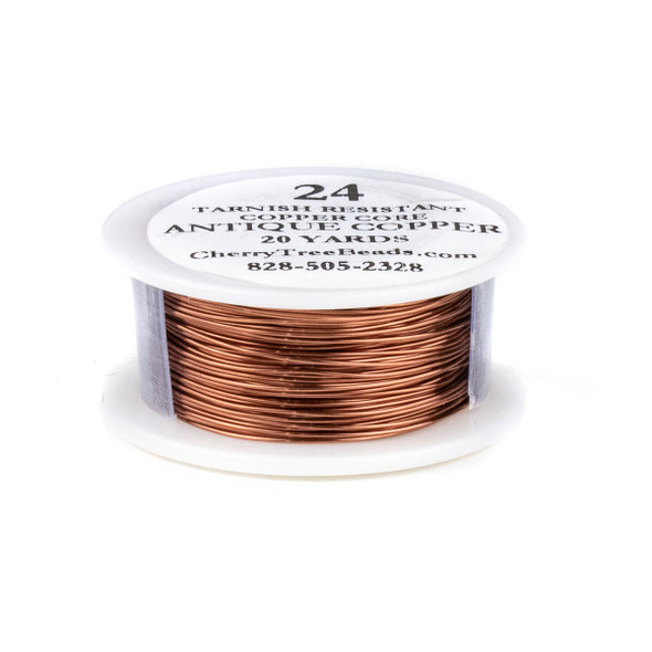 24 Gauge Coated Tarnish Resistant Antique Copper Wire on a 20 Yard Spool