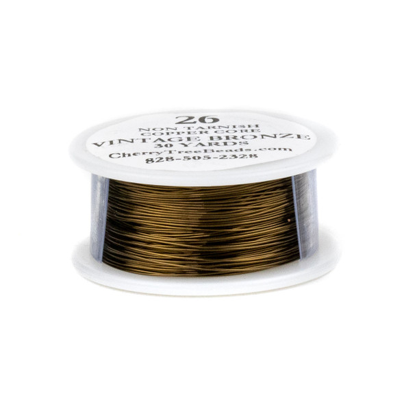 26 Gauge Coated Non-Tarnish Vintage Bronze Plated Copper Wire on 30-Yard Spool