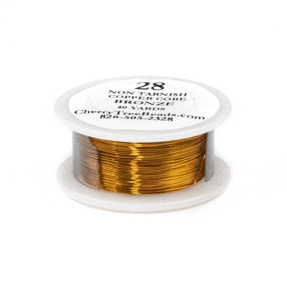 28 Gauge Coated Non-Tarnish Bronze Plated Copper Wire on a 40-Yard Spool