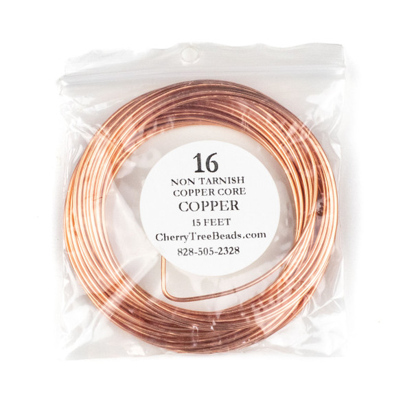 16 Gauge Coated Non-Tarnish Copper Wire in 15 Foot Coil