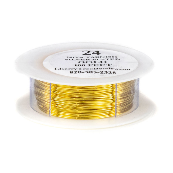 24 Gauge Coated Non-Tarnish Gold Plated Copper Wire on 100 Foot Spool