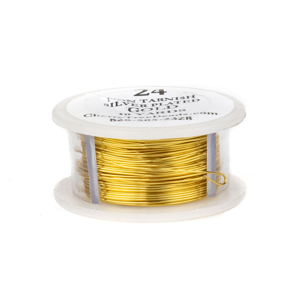 24 Gauge Coated Non-Tarnish Gold Plated Copper Wire on 10-Yard Spool