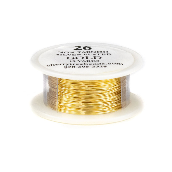 26 Gauge Coated Non-Tarnish Gold Plated Copper Wire on 15-Yard Spool