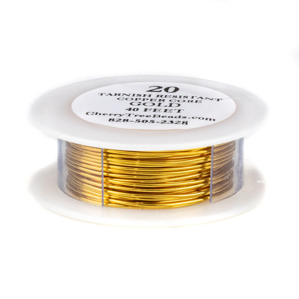 20 Gauge Coated Non-Tarnish Gold Plated Copper Wire on a 40 Foot Spool