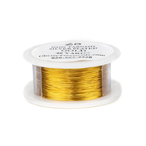 28 Gauge Coated Non-Tarnish Gold Plated Copper Wire on 40-Yard Spool