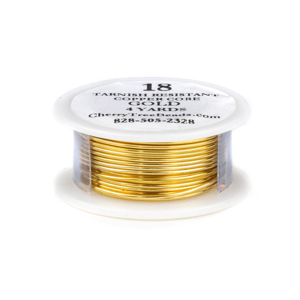 18 Gauge Coated Tarnish Resistant Gold Plated Copper Wire on 4-Yard Spool