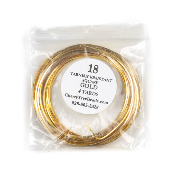 18 Gauge Coated Tarnish Resistant Gold Plated Copper Square Wire in 4-Yard Coil