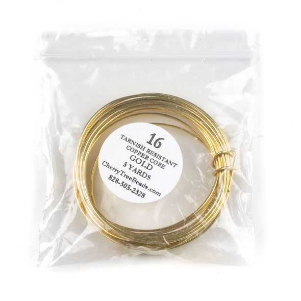 16 Gauge Coated Tarnish Resistant Gold Plated Copper Wire in 5 Yard Coil