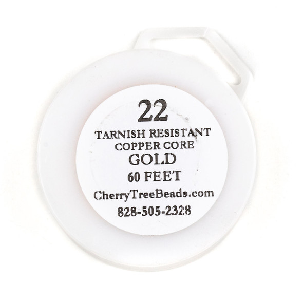 22 Gauge Coated Tarnish Resistant Gold Plated Copper Wire on a 60 Foot Spool