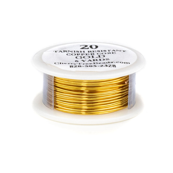 20 Gauge Coated Tarnish Resistant Gold Plated Copper Wire on 6-Yard Spool