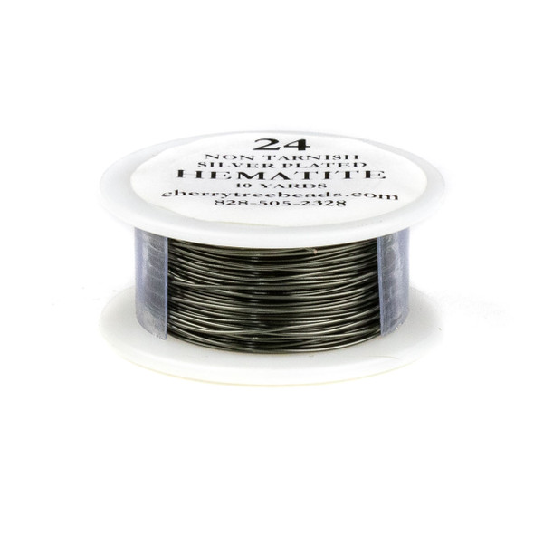 24 Gauge Coated Non-Tarnish Hematite Plated Copper Wire on a 10-Yard Spool