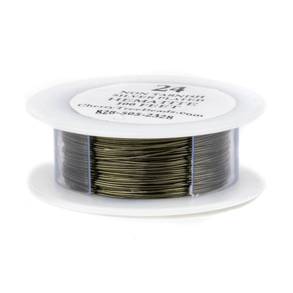 24 Gauge Coated Non-Tarnish Hematite Plated Copper Wire on 100 Foot Spool
