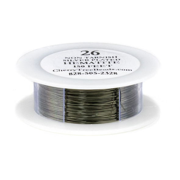 26 Gauge Coated Non-Tarnish Hematite Plated Copper Wire on 150 Foot Spool