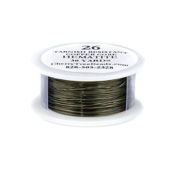 26 Gauge Coated Tarnish Resistant Hematite Plated Copper Wire on a 30-Yard Spool