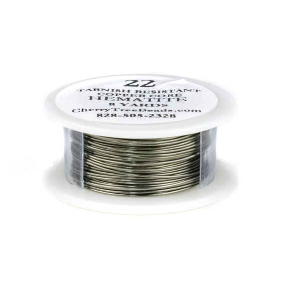 22 Gauge Coated Tarnish Resistant Hematite Plated Copper Wire on a 8-Yard Spool