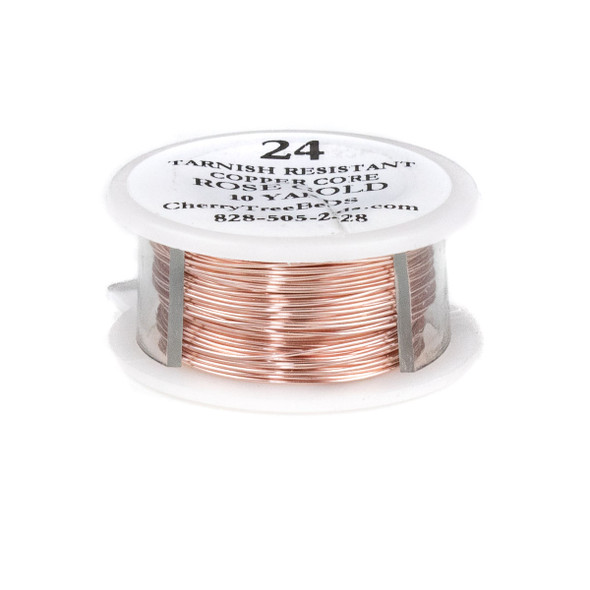 24 Gauge Coated Tarnish Resistant Rose Gold Plated Copper Wire on a 10-Yard Spool