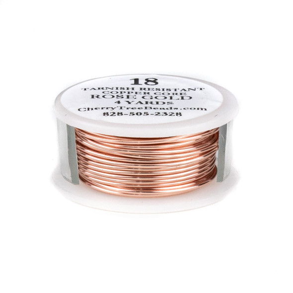 18 Gauge Coated Tarnish Resistant Rose Gold Coated Copper Wire on 4-Yard Spool