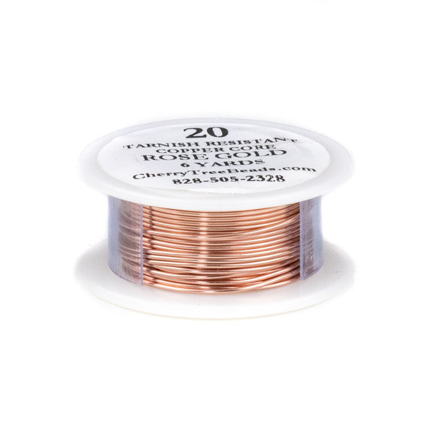 20 Gauge Coated Tarnish Resistant Rose Gold Plated Copper Wire on 6-Yard Spool