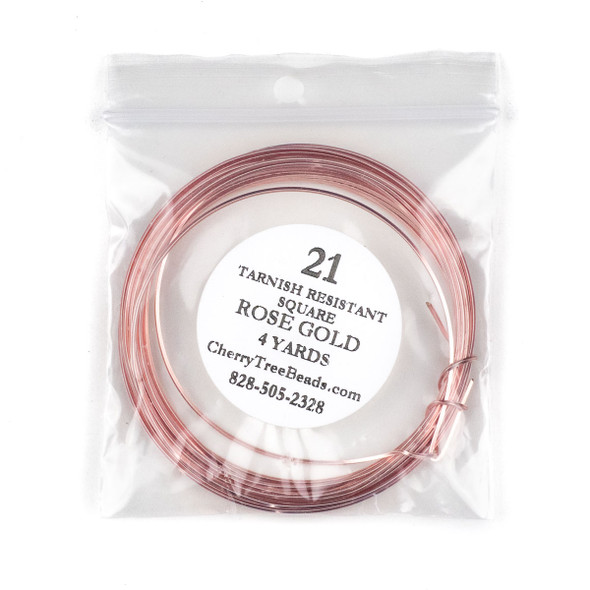 21 Gauge Coated Tarnish Resistant Rose Gold Plated Copper Square Wire in a 4 Yard Coil