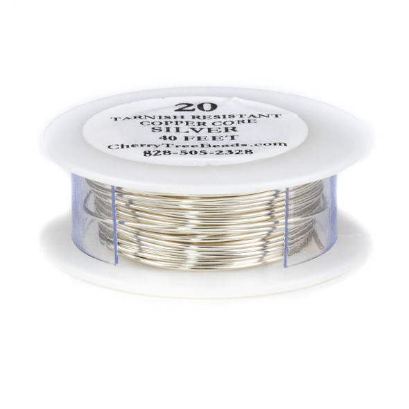 20 Gauge Coated Non-Tarnish Fine Silver Plated Copper Wire on 40 Foot Spool