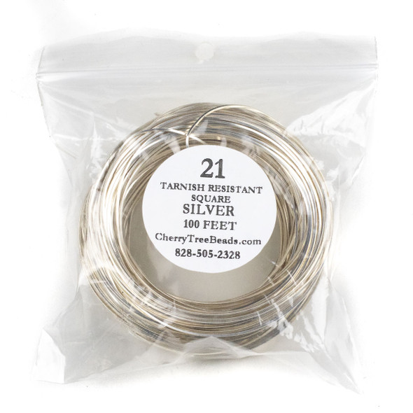 21 Gauge Coated Tarnish Resistant Fine Silver Plated Copper Square Wire in a 100 Foot Coil