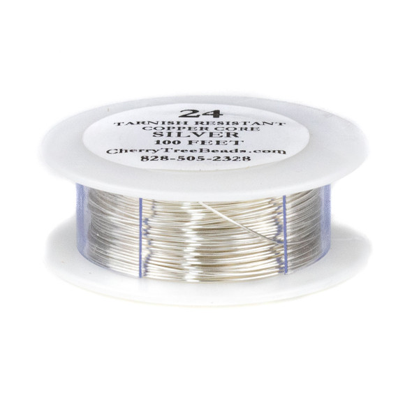 24 Gauge Coated Tarnish Resistant Fine Silver Plated Copper Wire on 100 Foot Spool