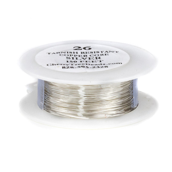 26 Gauge Coated Tarnish Resistant Fine Silver Plated Copper Wire on 150 Foot Spool