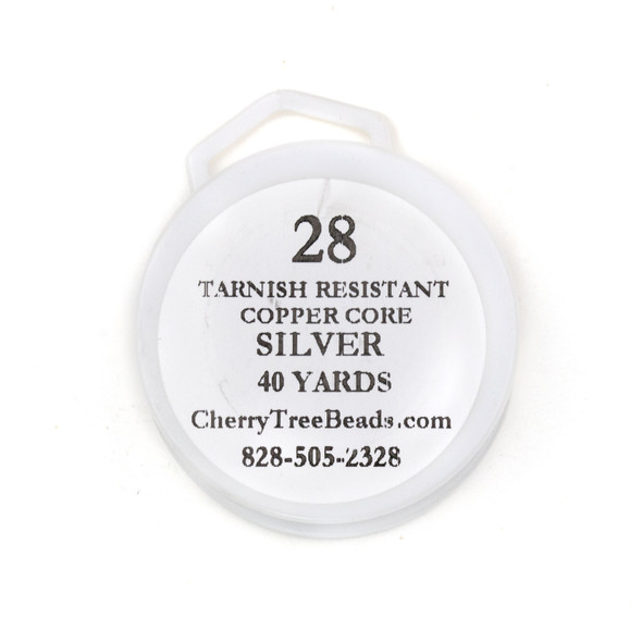 28 Gauge Coated Non-Tarnish Fine Silver Plated Copper Wire on 40 Yard Spool