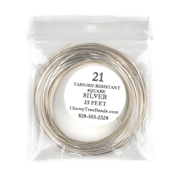 21 Gauge Coated Tarnish Resistant Silver Plated Copper Square Wire in 25-Foot Coil