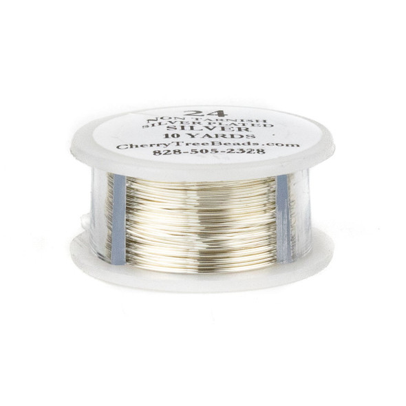 24 Gauge Coated Non-Tarnish Fine Silver Plated Copper Wire on 10-Yard Spool