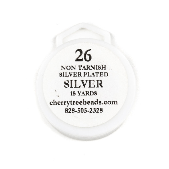 26 Gauge Coated Non-Tarnish Fine Silver Plated Copper Wire on a 15-Yard Spool
