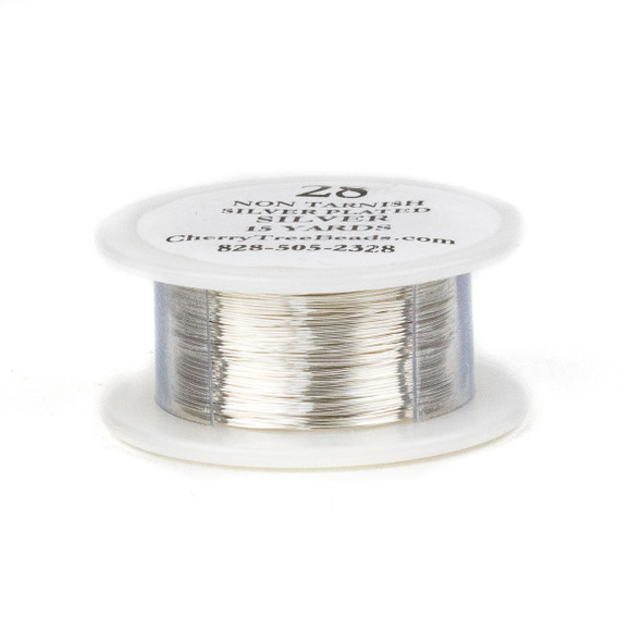 28 Gauge Coated Non-Tarnish Fine Silver Plated Copper Wire on a 15-Yard Spool