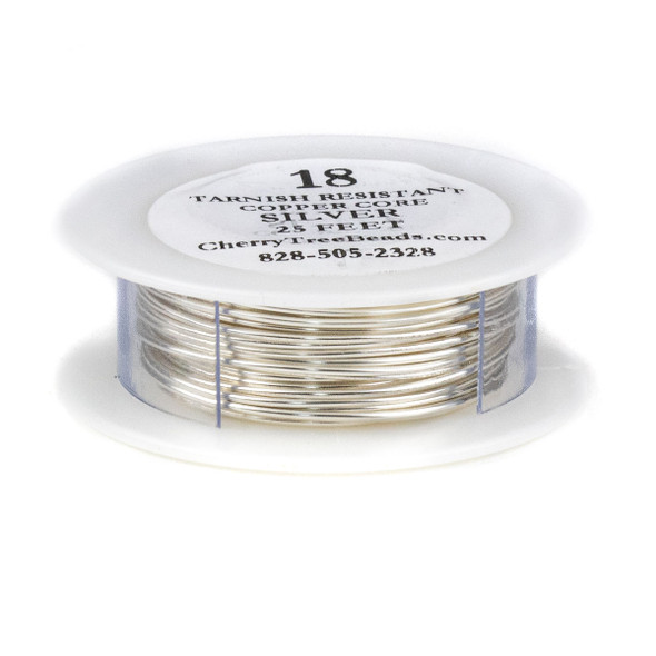 18 Gauge Coated Tarnish Resistant Fine Silver Plated Copper Wire on 25-Foot Spool