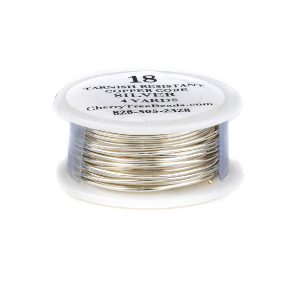 18 Gauge Coated Tarnish Resistant Fine Silver Plated Copper Wire on 4-Yard Spool