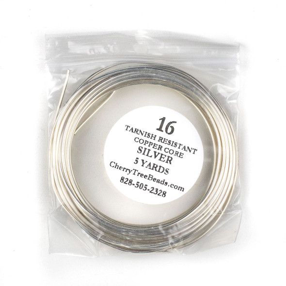 16 Gauge Coated Tarnish Resistant Fine Silver Plated Copper Wire in 5 Yard Coil