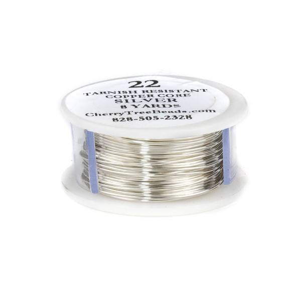 22 Gauge Coated Tarnish Resistant Fine Silver Plated Copper Wire on a 8-Yard Spool